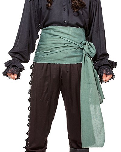 Kostüm Renaissance Green - Pirate Medieval Renaissance Linen Large Sash [C1417] [Green]