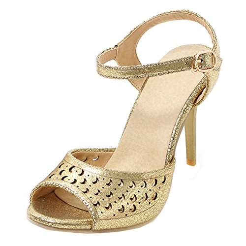 YE Damen Ankle Strap Peep Toe Stiletto High Heel Sandalen mit 9.5cm Absatz Party Schuhe Gold