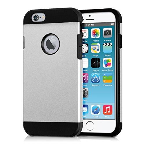 kwmobile Hülle für Apple iPhone 6 / 6S - Hybridhülle Dual Case Handy Schutzhülle TPU Silikon - Hybrid Cover Hybrid Metallic Design Metallic Rosegold Schwarz Plain Silber Schwarz