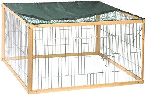 """dobar 23177 Rechteckiges Freilaufgehege """"Quadro"""", Kaninchengehege aus Holz und Metall mit Nylon Netz für draußen wetterfest, 100 x 100 x 58,5 cm"""