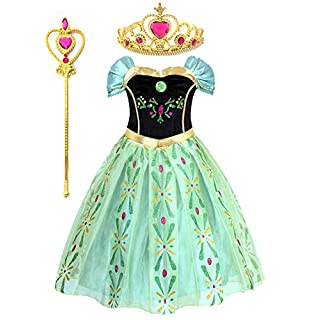Kuzhi Princess Elsa Anna Party Costume Dress with Crown and Wand (M)
