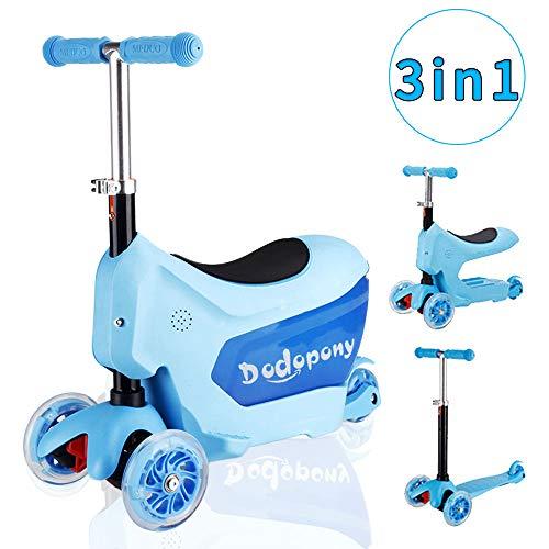 Baobë 3-in-1 Kleinkinder Roller Scooter 3-Räder -Tretroller für Jungen Mädchen mit Spielzeug-Ablagekorb,Mini Kinderscooter Kinderroller mit Abnehmbarem Sitz,Verstellbare Lenker