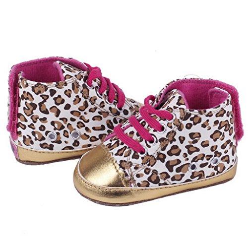 Bigood Chaussure Bébé Fille Cuir Léopard Chaussures Premiers Pas Age 3-18 Mois Doré