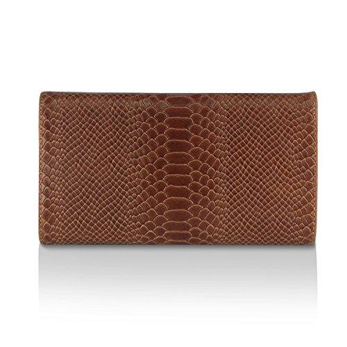 Gloop Damen Clutch echt Leder Tasche Abendtasche mit Kette Handtasche im Kroco Muster Made in Italy Braun