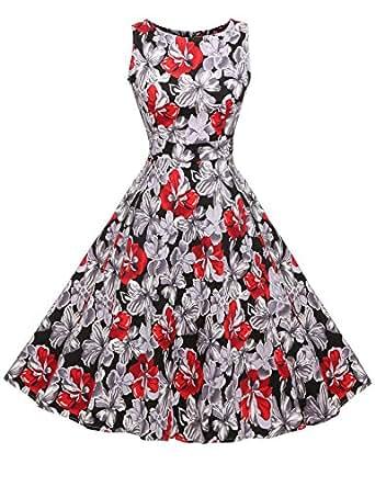ACEVOG Elegant Damen aermellose 1950er Retro Vintage Floral Party Cocktailkleider Abendkleider Sommerkleid Knielang, size 36 rot/schwarz