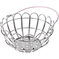 MagiDeal Kids Mini Metal Supermarket Shopping Basket For Kitchen Fruit Vegetable Food Grocery Storage Pretend Play Tools Toy Gifts Round Pink