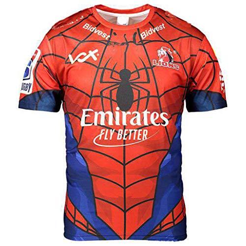 Okeak Männer Rugby T-Shirts Trikot Lion Hero Edition Trikot Rugby Unterstützer Kleidung Fußballfan Pro Trikot Draußen Atmungsaktive Uniformen,Rot,XXXL
