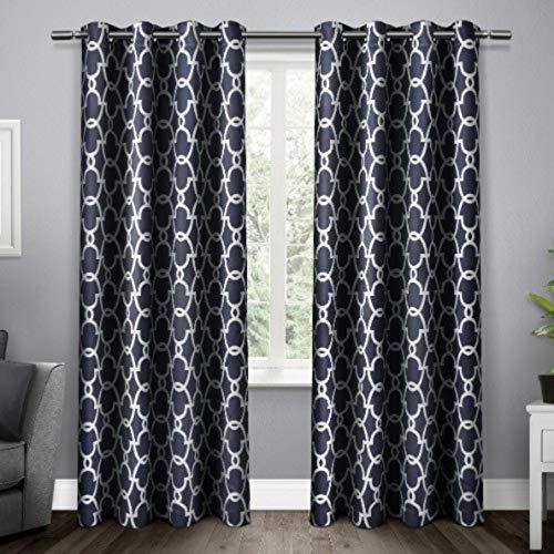 Exclusive home tende gates rasatello tessuto occhielli finestra tenda a pannello oscurante. coppia, peacoat blu, 52x 108cm, pezzi