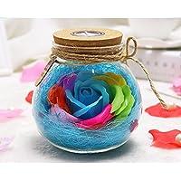 Silaite Flores Frescas preservadas, Botella Ligera de Rose romántica, Flores eternas Hechas a Mano, con teledirigido, lámpara del Amortiguador del RGB del LED