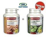 SimplySupplements Vitamin E 400iu 240 capsules + Ginkgo Biloba 6000mg 360 tablets   For a healthy heart, arteries & mind