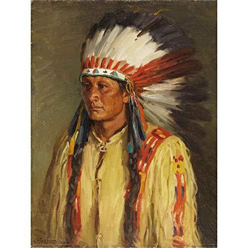Wee Blue Coo Prints Painting Portrait Study Native American Sharp Jerry Poster Art Print Farbe Porträt Muttersprache Amerika Kunstdruck