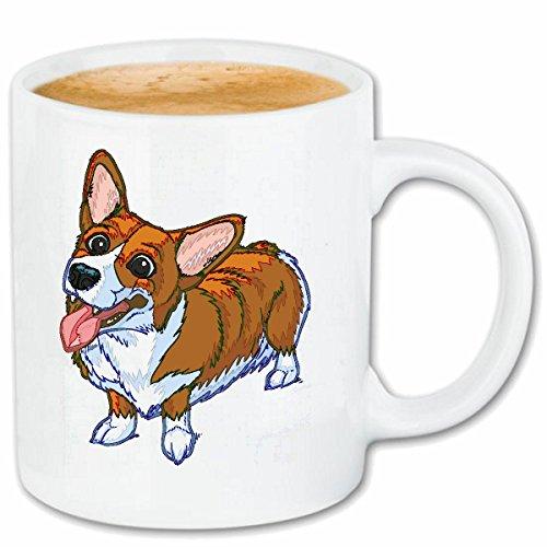 Reifen-Markt Kaffeetasse SÜSSER Welsh Corgi Pembroke SCHAUT Einem LIEBEVOLL AN Hunderasse HAUSHUND BRITISCHE HÜTEHUNDE Corgi WELPEN Keramik 330 ml in Weiß