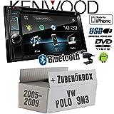 VW Polo 9N3 - Kenwood DDX4017DAB - 2DIN Bluetooth | DAB+ Digitalradio | DVD | USB | CD | MP3 Autoradio - Einbauset