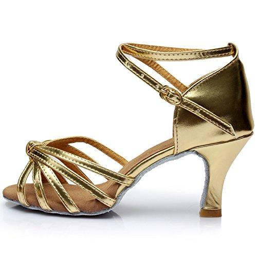 Oasap Women's Fashion Peep Toe Cross Strap High Heels Latin Dance Shoes Silver Ja5O2Or2