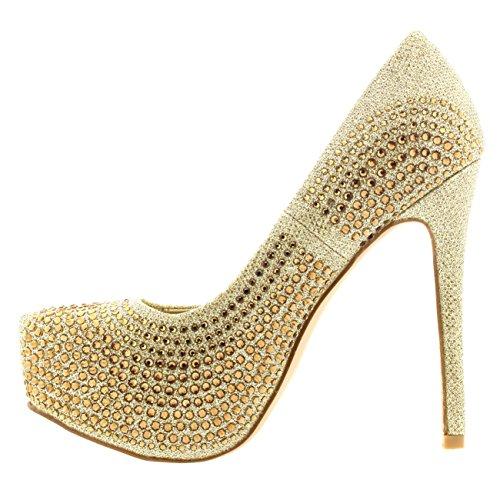Donna Stiletto Diamante Partito Sera Alto Tacco Piattaforma Scarpette Oro