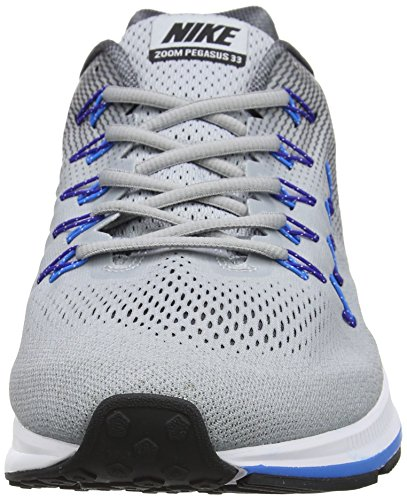 Nike Air Zoom Pegasus 33 (4e), Chaussures de Running Entrainement Homme Gris (Wolf Grey / Black-Dark Grey-Photo Blue)