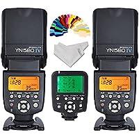 Yongnuo YN-560IV 2PCS Wireless Flash Speedlite kit + YN560-TX LCD Flash Trigger Remote Controller For Nikon DLSR Cameras+Inseesi clean cloth+20 Color Filter