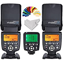 Yongnuo YN-560IV 2PCS Wireless Flash Speedlite kit + YN560-TX LCD Flash Trigger Remote Controller For Nikon DLSR Cameras+Inseesi clean cloth+20 Color Filter