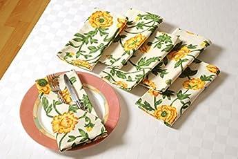 Swayam Libra Printed 6 Piece Cotton Dinner Napkins - Yellow