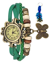 RTimes Vintage Butterfly Bracelet Wrist Watch for Women with Girl's Key Chain - Green girl's watch
