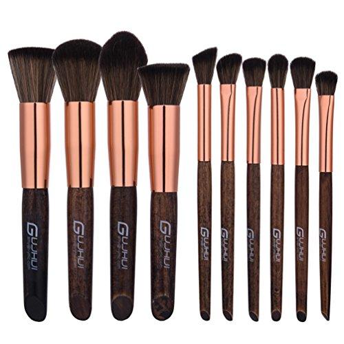 Fashion Base® 2017 Kabuki Fond de teint liquide Brosse 10 pcs visage blending Contour Pinceaux Cosmétique Concealer Beauté Lot de brosse de maquillage Poignée en bois