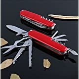 AlexVyan Red New 11 In 1 100% Stainless Steel Multi Functional Swiss Army Style Knife - Every Tool made of Steel - Ideal for Rough Usage Multi Utility Tool for Camping Tour Travel Car Bike Home Office