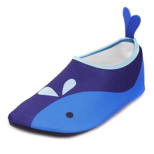JACKSHIBO Jungen Mädchen Strandschuhe Schwimmschuhe Aqua Schuhe Unisex-Kinder Surfschuhe Badeschuhe, blau, EU 24-25