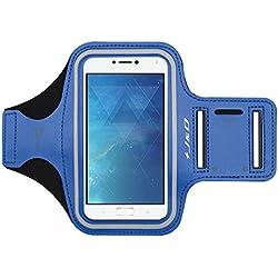 J&D Compatible pour Brassard Zenfone 6 2019/ZenFone 4 Max, Brassard de Sport pour ASUS ZenFone 4 Max, Poche pour Clés, Entrée Parfaite pour l'écouteur Pendant Le Jogging et l'entraînement - Bleu