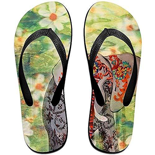 Zapatillas Chanclas Unisex Antideslizantes Elefante En Flores Verdes Zapatillas De Playa Frescas Sandalia