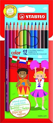 Lápiz de color escolar STABILO Color - Estuche de 12 colores
