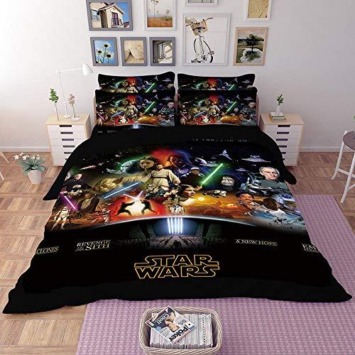 ZJXBEDDING 3D-Bettwäsche-Set,Bettbezug-Sets Star Wars Printing 3-Teilig 100% Mikrofaser Geeignet Für Geschenke (1 Bettbezug + 2 Kissenbezug) M-Twin(172x218cm) (Star Wars Bettwäsche Twin)
