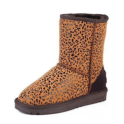 Leopard-stampa Ballerine Stivali da neve/ donne di spessore inverno stivali-A Lunghezza piede=24.3CM(9.6Inch)