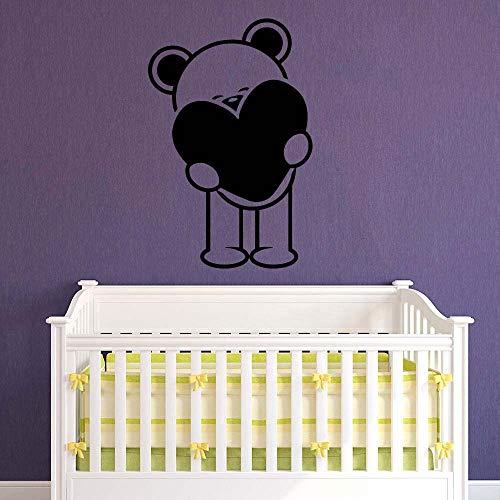 YuanMinglu Teddybär Vinyl wandtattoo mädchen Junge Kindergarten Dekoration Mode zuhause Baby raumdekoration schwarz 57x85cm