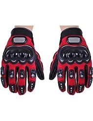 SODIAL (R) Par rojo Guantes dedo completa Proteccion XXL de motos o bicicleta Deporte para Femenino Masculino