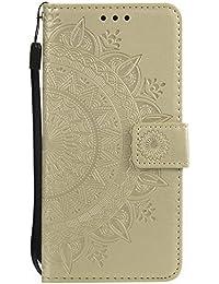 Lomogo Funda Galaxy S9, Funda de Cuero con Cartera para Tarjetas y Cierre Magnetico Soporte Plegable Carcasa Libro Antigolpes para Samsung Galaxy S9 - LOHHA10639 Oro