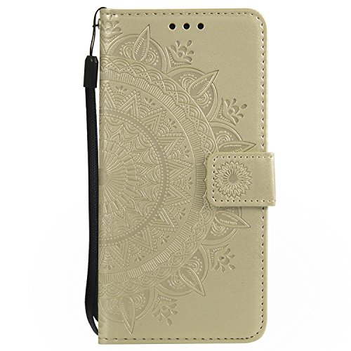 Kompatibel mit Lederhülle MOTO G6 Hülle Blumen Flip Wallet Case Cover Leder Bookstyle Handyhülle Tasche Handytasche Magnetverschluss Ledertasche Klapphülle Kartenfächer,Gold