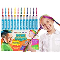 HAIR CHALK FOR GIRLS – & BOYS, 12 Kids Temporary Hair Colour, Vibrant & Washable Hair Dye Pens, Works on Dark or Blond Hair, Set, Girls Hair Accessories Toy Crayons