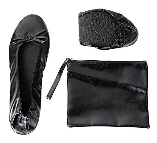 Rose cheeks ballerine portatili pieghevoli con borsa per donna medio nero