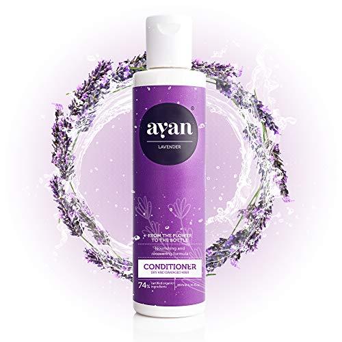 AYAN Naturkosmetik Conditioner für trockene Haare ohne Silikone, Parabene und Sulfate 200 ml - mit Lavendel und Sheabutter