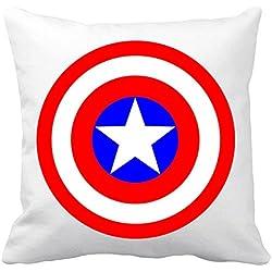 Cojín con relleno Capitán América logo escudo - Blanco, 35 x 35 cm