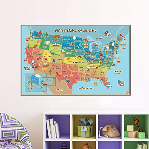 BZQTHXK United States Map Wall Stickers for Bedroom Kids Room Classroom Decor Self-Adhesive PVC Removable Vinyl Decals Art Mural (Vereinigte Staaten-map-kunst)