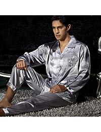 Pajamas Traje de Pijama, Algodón con Bolsillos Albornoz, Abrigo de Verano y otoño de poliéster Pijamas de Plata, Hebillas Femeninas con Bolsillos Delanteros de Tres Piezas Pantalones de Manga Larga d