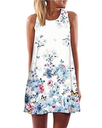 Minetom Damen Sommer Vintage Boho Ärmelloses Sommerstrand Gedruckt Kurzes Minikleid Mädchen Lose Weste Dress T-shirt Tops Kleider Blau DE 40 (Dot Halter Mesh)