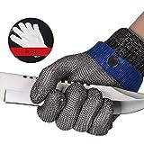Edelstahl Metall Mesh Schnittfeste Handschuhe Level 5 Schutz Arbeitshandschuhe Lebensmittelqualität Schnittsichere Sicherheitshandschuhe für Küche, Arbeit, Metzger, Outdoor, etc, XS-21.5cm, 1