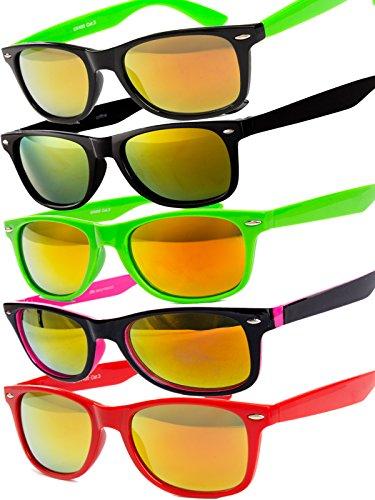 5 er Set EL-Sunprotect Sonnenbrille Nerdbrille Brille Nerd Feuer Verspiegelt Rot Pink Schwarz Grün...