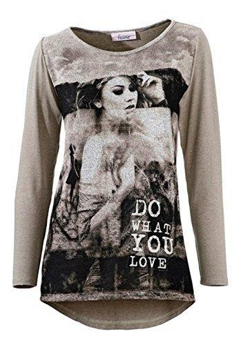 Shirt mit Druck Damen von Linea Tesini Taupe
