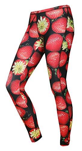 FeelJ! Damen Leggins Strawberries long, Multicolor, L, FJ5902349671758
