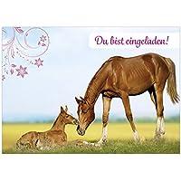 16 Einladungskarten Zum Kindergeburtstag   Motiv Pferde   Für Kinder,  Jungen, Mädchen, Party