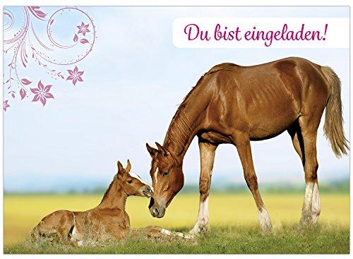 16 Einladungskarten zum Kindergeburtstag Pferde Reit-Geburtstag - Einladungen für Kinder zum Geburtstag im Set