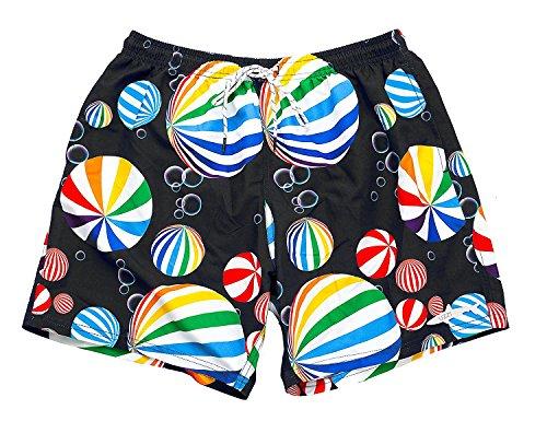 aadaf06506b94 UZZI Men's Beach Balls Swim Shorts - Black - 1X Big